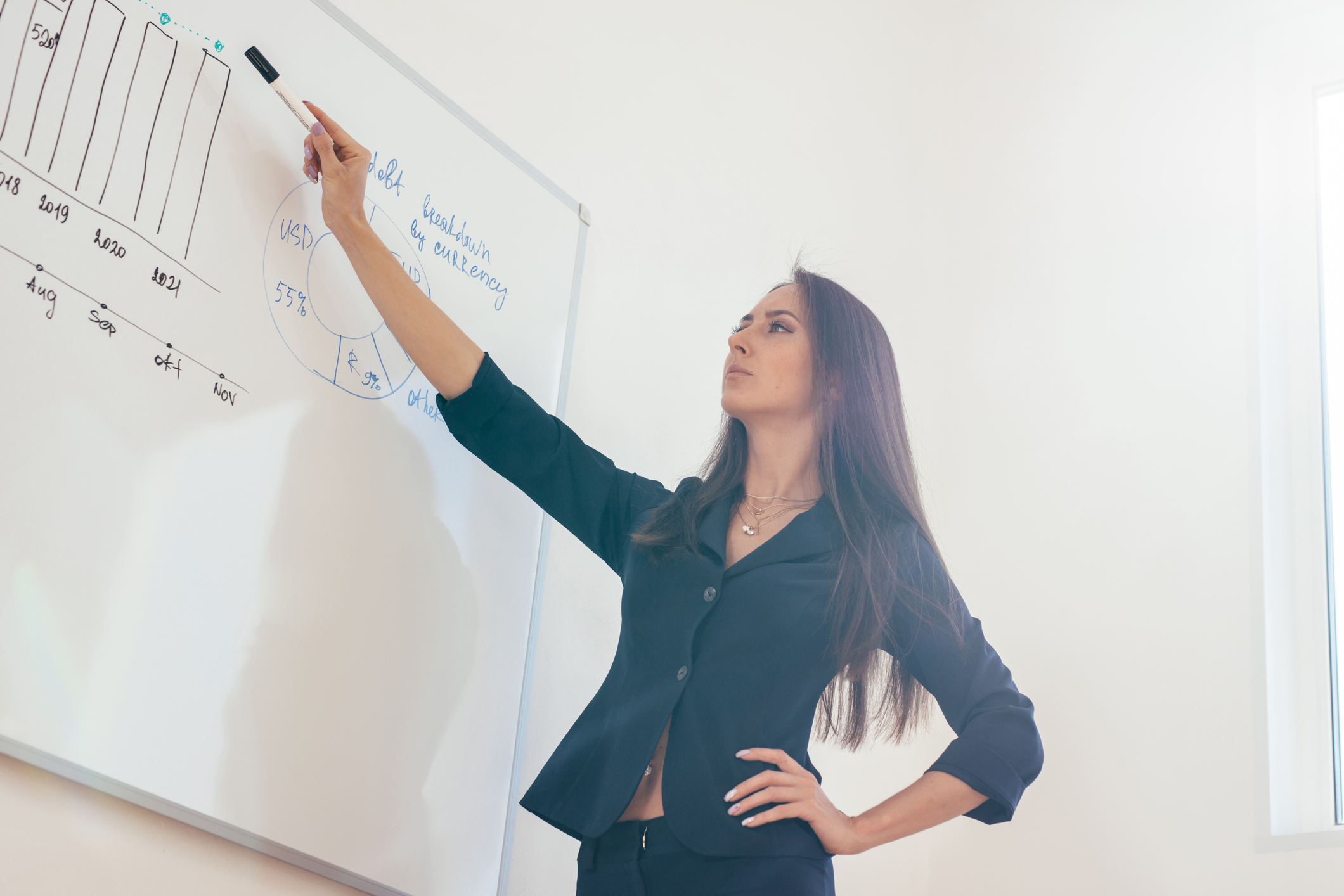 Female teacher giving a lecture showing presentation on whiteboard.