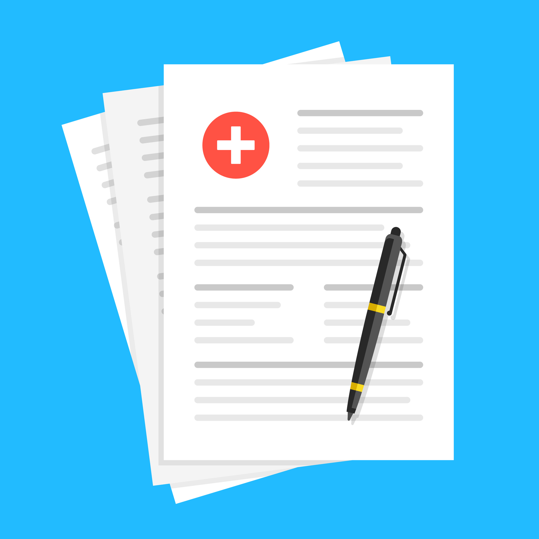 Medical report, medical document, health insurance concepts. Flat design. Vector illustration