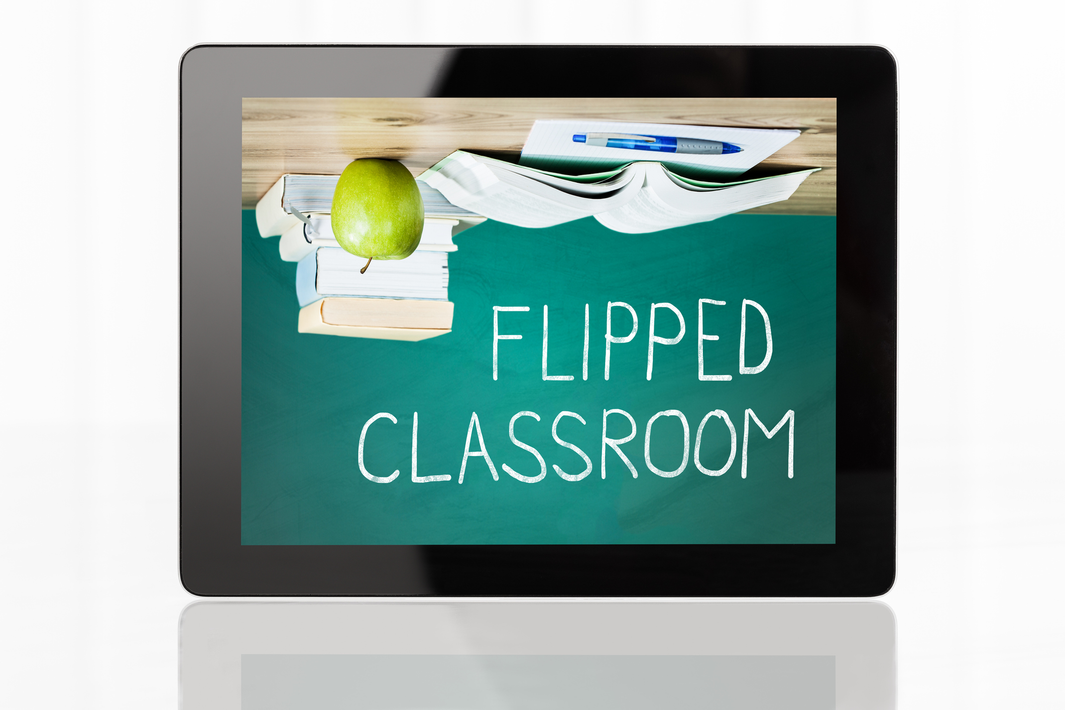 Close-Up of Flipped Classroom Concept On Digital Tablet At White Background